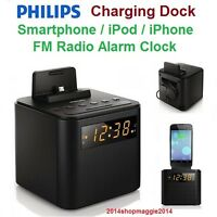 Smartphone Charging Dock Ipod Iphone Galaxy Docking Station Radio Alarm Clock