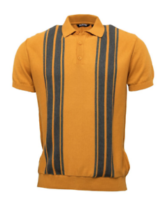 RELCO STRIPED KNITTED POLO SHIRT 60/'s MOD RETRO STYLE  Mustard Grey Stripe