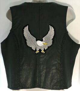 Hudson-Women-Black-Leather-Motorcycle-Riding-Biker-Vest-Zipper-Front-Eagle-Patch