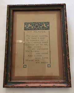 Vintage-Antique-Wooden-Art-Deco-Hanging-Picture-Frame-My-Prayer-Print-Nail-Back