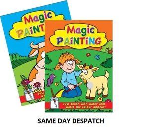 2-x-A4-Magic-dipinto-da-Colorare-Libri-d-039-Arte-per-bambini-nessun-disordine-usare-acqua-brush