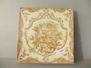 Antique Ceramic Tile Architectural Vintage Floral Flower Gilt Leaf Art Nouveau