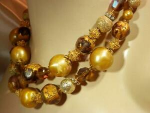 Gorgeous-Deauville-Signed-Vintage-1960-039-s-Crystal-Lucite-Gold-Tone-Necklace-199M9
