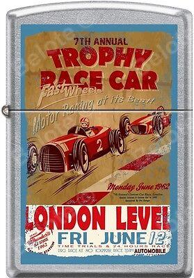Zippo Trophy Race Car London Level Fast Wheels 1962 Poster Street Chrome Lighter