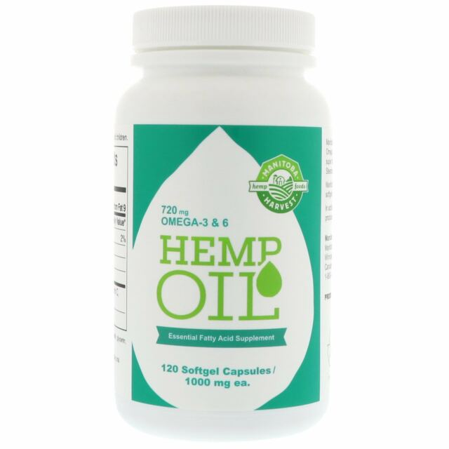Hemp Oil, 1,000 mg, 120 Softgel Capsules