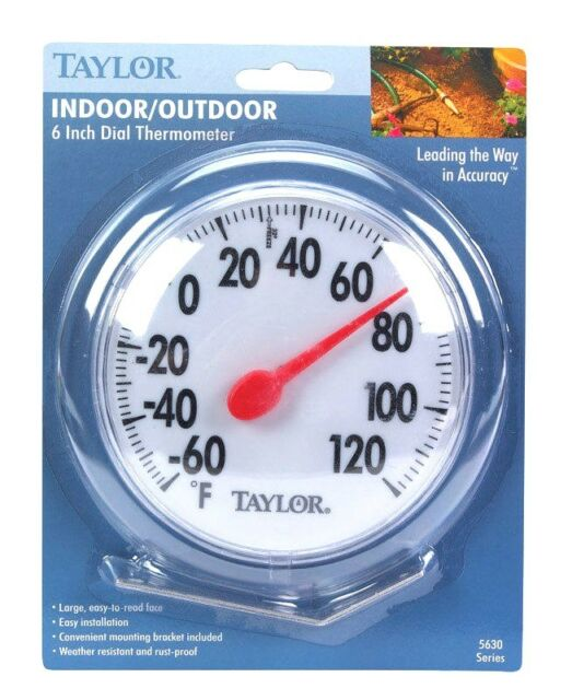 """#5630 New 6"""" TAYLOR Indoor Outdoor Round Dial Thermometer w/ Mounting Bracket!!!"""