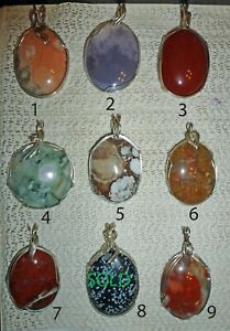 Handcrafted Wire Wrapped Natural Stone Pendant Jewelry Pick One