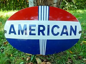 AMERICAN Gasoline Porcelain Sign Domed Advertising 24 Inches Old Vintage Gas Oil
