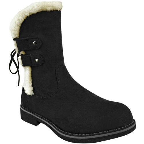 Womens Warm Winter Low Flat Heel Ankle Boots Thermal Fleece Faux Fur Size