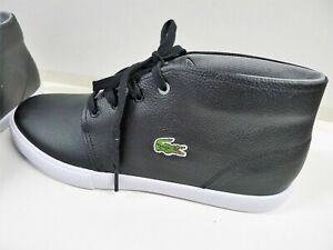 85ecb66d3 NWOB Lacoste Men s Lace Up Black Leather Hi Top Sneakers Size 9.5