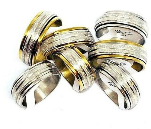Men/'s Stainless Steel Silver or Gold Diamond Dust Spinner Ring Gift Boxed!
