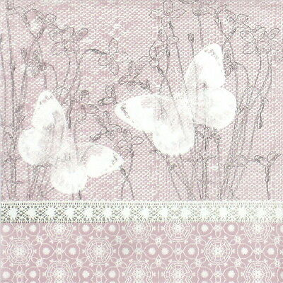4x Single Table Paper Napkins for Party Decoupage Decopatch Vintage Butterfly