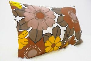 Retro-Fabric-Cushion-Cover-60s-70s-12x18-034-Vintage-Brown-Floral-Campervan