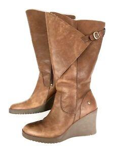 0f310d5dd1d Details about UGG | Corinth Brown Leather Knee High Wedge Heel Sheepskin  Boots | Women's 11