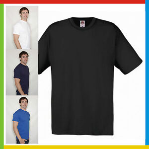 MENS-ROUND-NECK-T-SHIRT-Fruit-Of-The-Loom-ORIGINAL-100-Cotton-Tee-FREE-POST