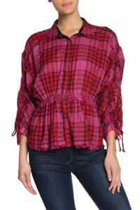 Free People Womens Red Combo Plaid Ruched Sleeve Pacific Dawn Shirt Top Snaps L