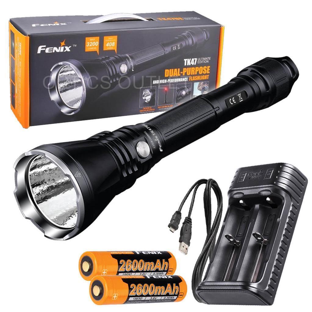 Fenix TK47UE Ultimate Edition 3200 Lumen LED Flashlight w  2x 18650 & Charger