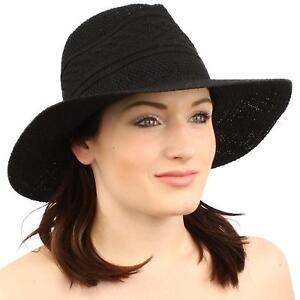 "Unisex Aztec Soft Summer Fedora Trilby Panama Floppy 3-1/8"" Wide Brim Hat Black"
