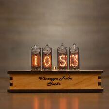 """/""""Bohemia/"""" Wood Retro Nixie Tube Clock IN-14  Golden OAK//ORANGE"""