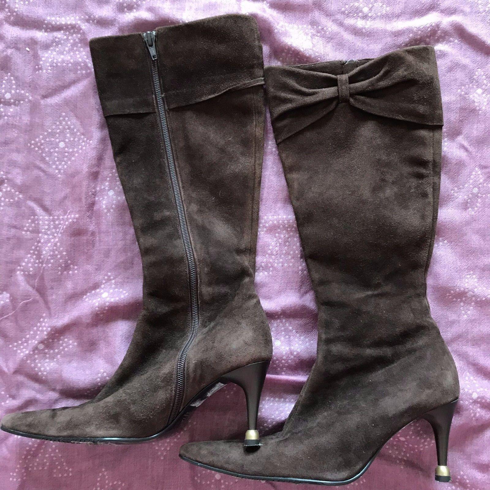 Australia vago premium de gamuza cuero hasta la rodilla rodilla rodilla alta botas de Cremallera Arco Con Talón Zapato Insolia 2ac277