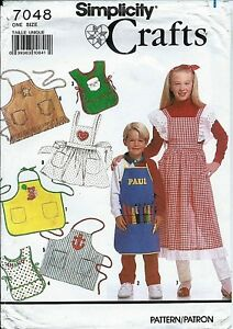 S-7048-sewing-pattern-child-039-s-APRONS-sew-Coverall-Tabard-Pinafore-Butcher-UNCUT