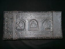 Old Nepal Tibet Large Buddhist Three Deities Wooden Cover Prayer Mantra Book I