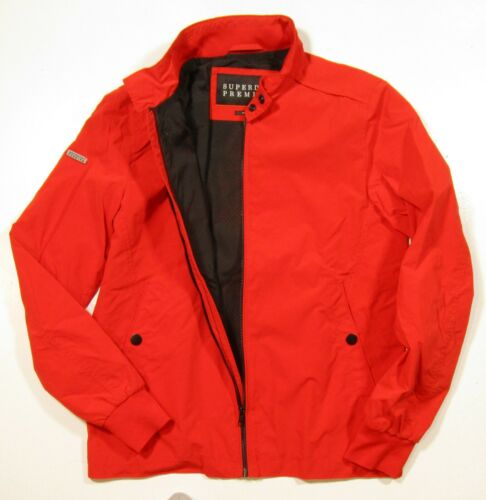 Superdry Men/'s Blood Orange Red Premium Iconic Harrington Zip Jacket
