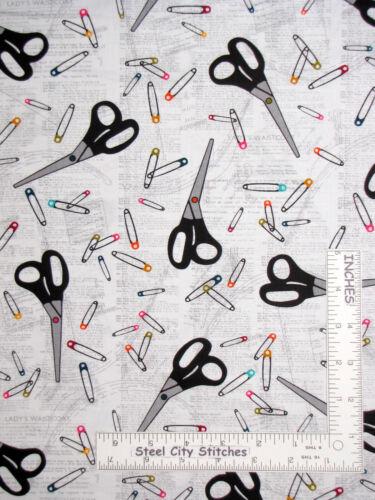 Sew Themed Scissors Pins Motifs White Cotton Fabric Kanvas Studio By The Yard