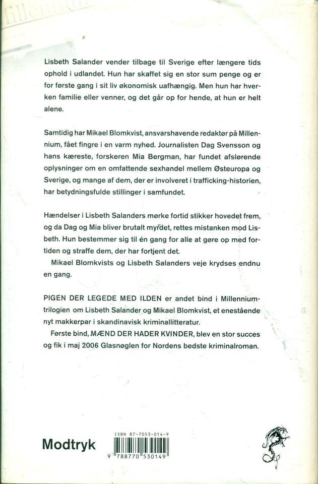 Pigen der legede med ild, Stieg Larsson, genre: krimi og