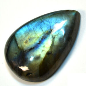 Cts-43-35-Natural-Multi-Fire-Labradorite-Cabochon-Pear-Cab-Loose-Gemstone