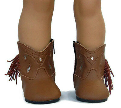 """Brown Cowboy Western Boots Fringe fits 18"""" American Girl Doll Clothes Shoes"""