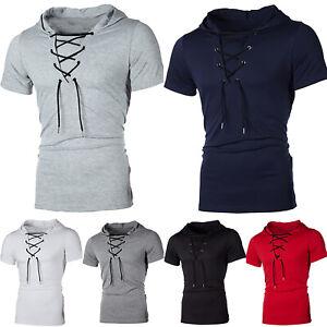 Men Muscle Hooded Hoodie Short Sleeve T Shirt Slim Fit Casual Tee Blouse Tops