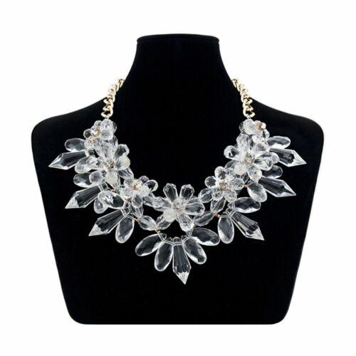 XXL Luxus Statement Halskette Kette Collier Kristall Stachel Blumen NEU