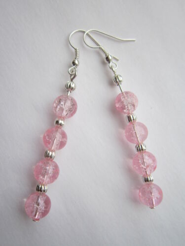 Dangle Earrings Light Pink Glass Crackle Beads Long Drop