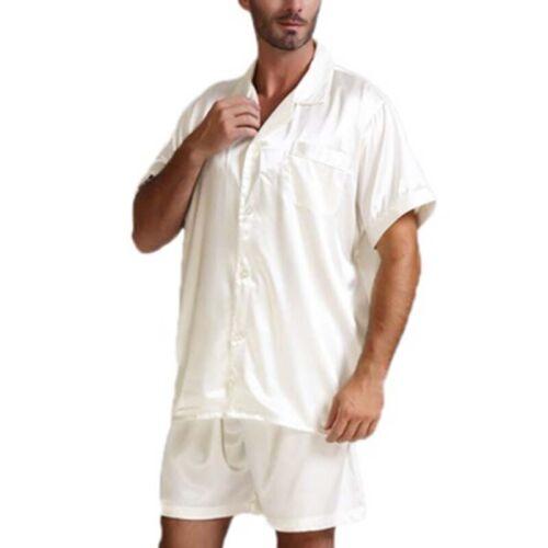 2pcs Mens Short Sleeve Pajamas Set Silk Satin Sleepwear Nightgown Party Pyjamas