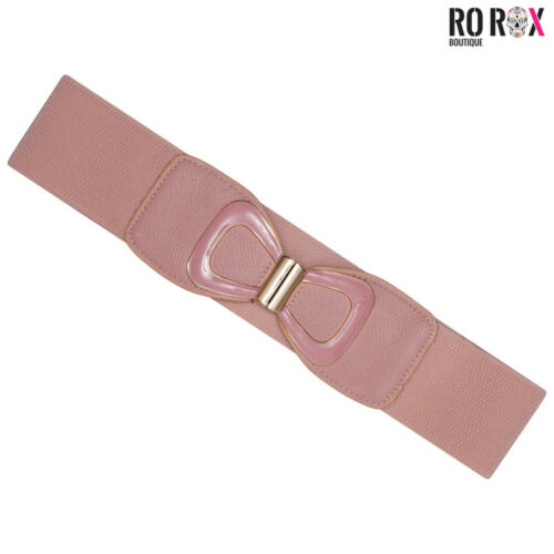 Ro Rox Jayne Vintage Retro Pin-Up 50/'s Bow Buckle Elasticated Wide Stretch Belt