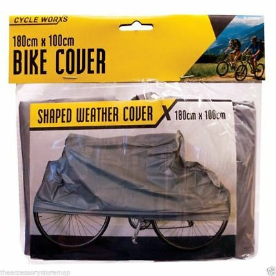UNIVERSAL ALL WEATHER BIKE BICYCLE CYCLE COVER SHAPED 180 X 100CM DUST RAIN NEW