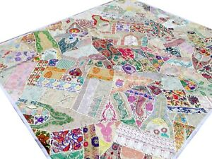 Quilt-King-Patchwork-White-Indian-Bed-cover-Handmade-India-Vintage-Patches-Boho