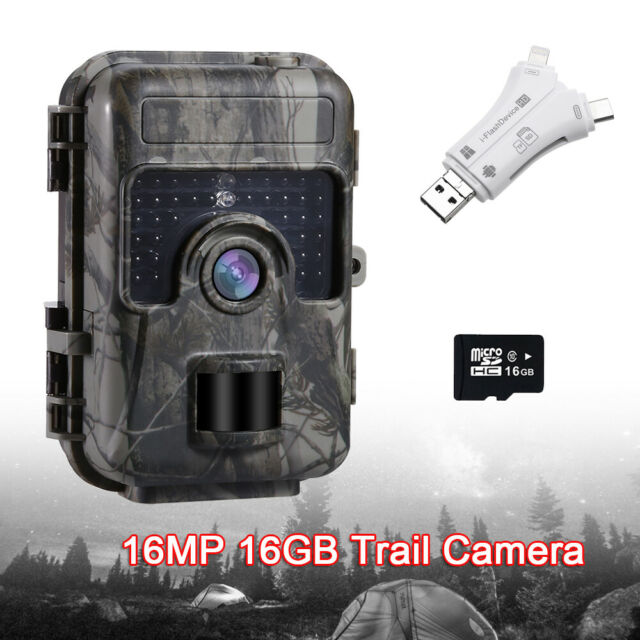16MP Trail Hunting Camera Waterproof 0.6S Trigger With 16GB DVR + SD Card Reader