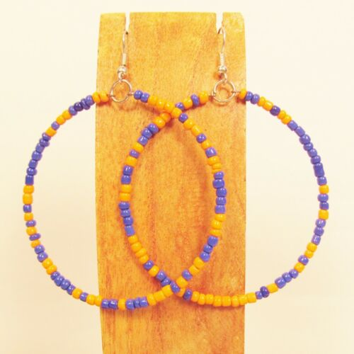 "2 1//2/"" Orange and Blue Color Single Hoop Handmade Seed Bead Earring TEAM COLORS!"