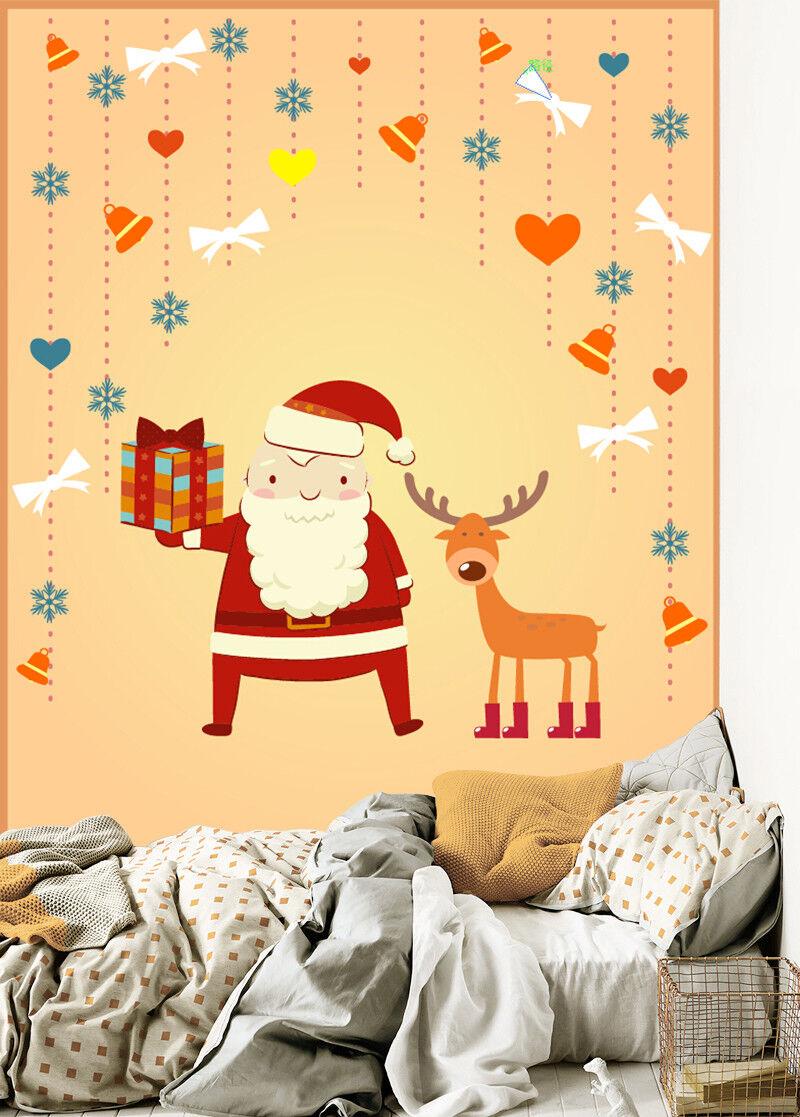 3D Cute Santa Deer 6 Wallpaper Murals Wall Print Wallpaper Mural AJ WALL US