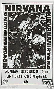 Image Is Loading NIRVANA Concert Window Poster Handbill Rock Band Lifticket