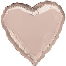 "18"" Solid Rose Gold Heart Shape Balloon Wedding Baby Shower Birthday Luau Pink"