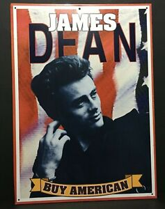 Vintage-1998-James-Dean-Buy-American-Retro-Tin-Sign-17-25-034-x-12-5-034-Made-In-USA