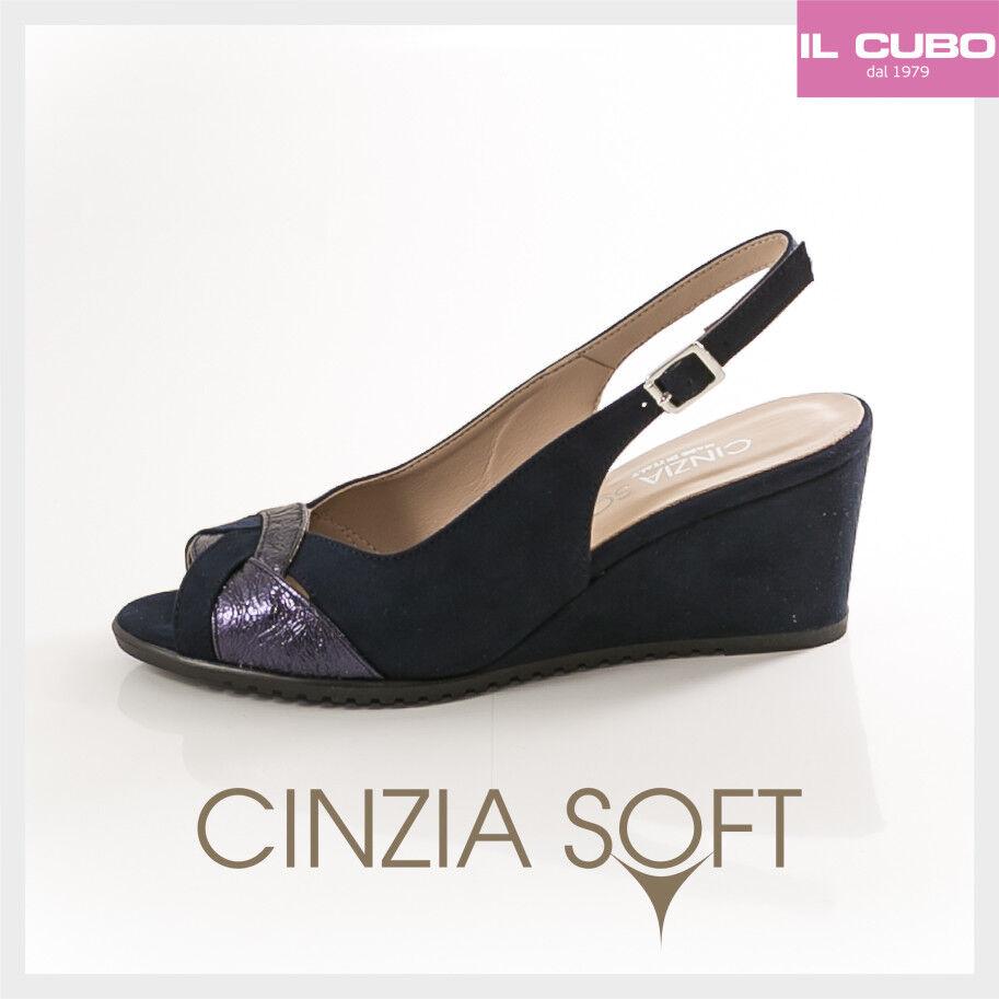 CINZIA SOFT SANDALO Damens CAMOSCIO COLORE BLU ZEPPA H 7 CM MADE IN ITALY
