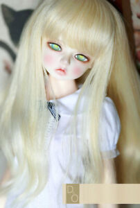 "1//6 6-7/"" BJD Doll Wig Light Blonde Curly Wavy Hair Medium Long Cream Color AL-8"