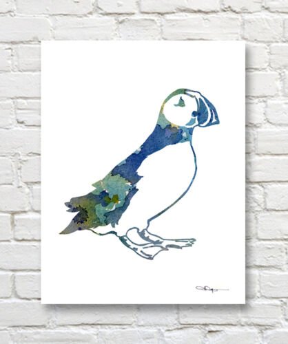Puffin Abstract Watercolor Painting Art Print by Artist DJ Rogers