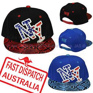 Snapback-Snap-Back-Flat-Peak-Brim-Baseball-Cap-Hat-American-Flag-NY-NEW-YORK