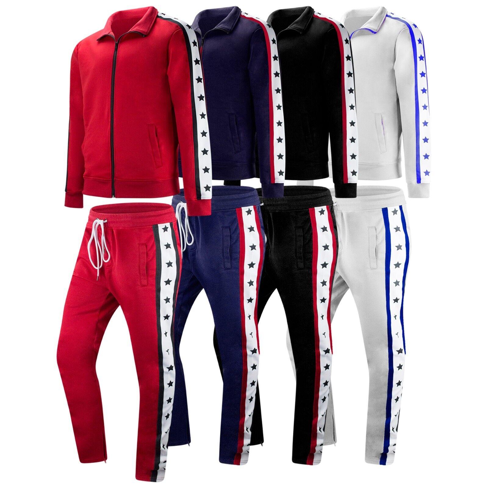 New Men Track Suit Sweat Suit Track Pants Jacket Zipper Stars Print Größes M-3XL