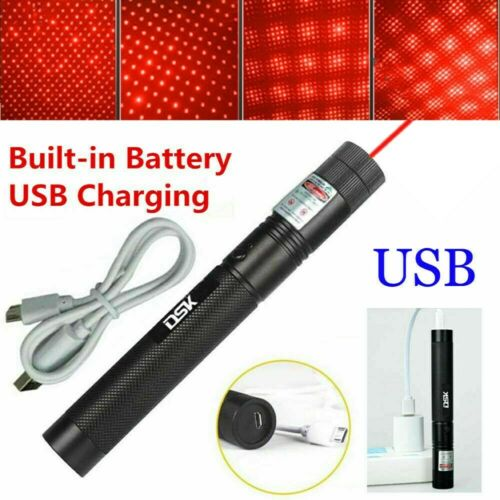 900Mile Rechargeable 650nm Red Laser Pointer Star Beam Lazer USB w// Battery